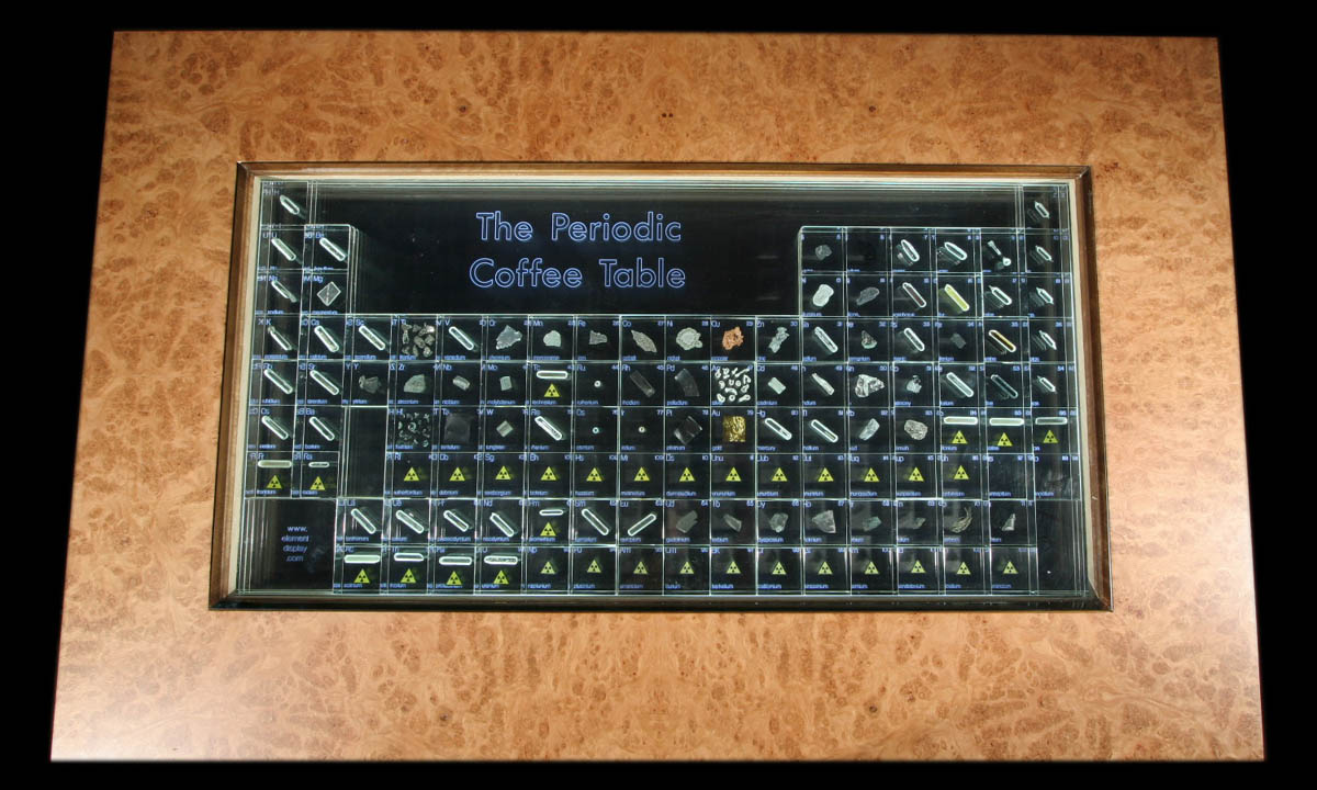Periodic table table domestic geeks but of course making a table with the periodic table of elements on it isnt enough he actually filled each slot with samples of its respective element gamestrikefo Images